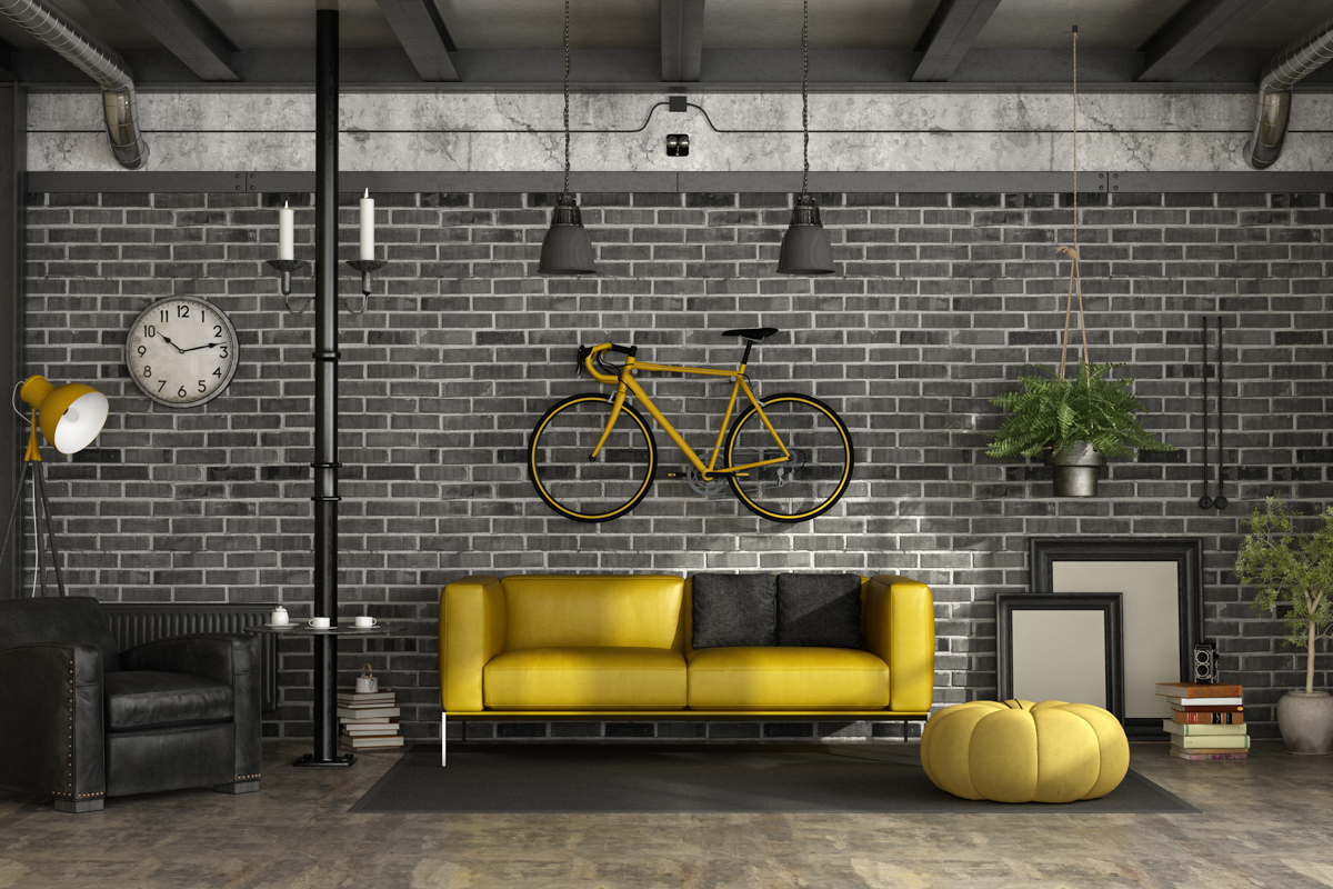 Black and yellow living room in a loft